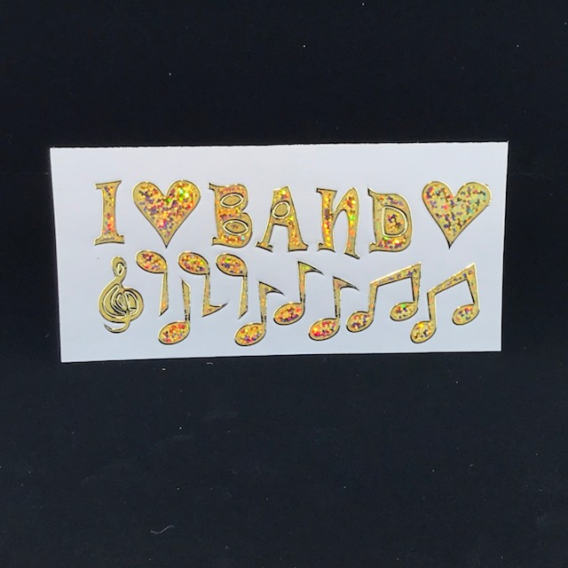 Stickers clearance 1 retro i love band gold hologram